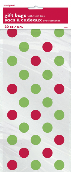 Red & Green Dots Cellophane Bags (20)